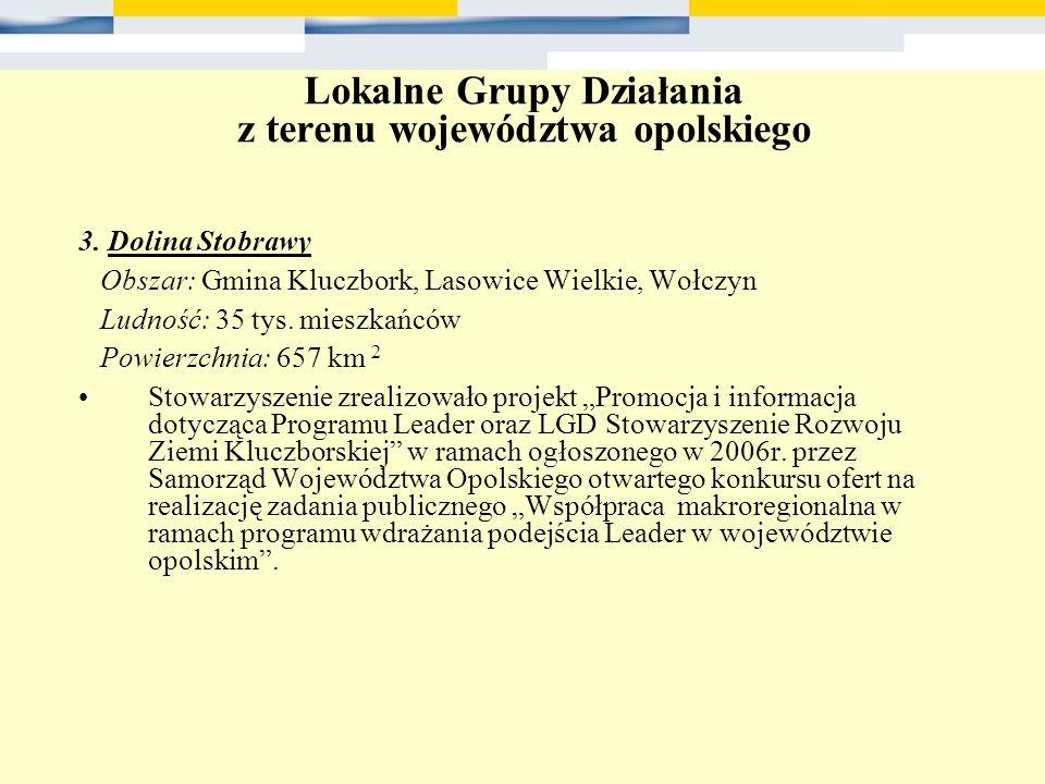 Lokalne Grupy Działania z terenu województwa opolskiego 3. Dolina Stobrawy Obszar: Gmina Kluczbork, Lasowice Wielkie, Wołczyn Ludność: 35 tys. mieszka