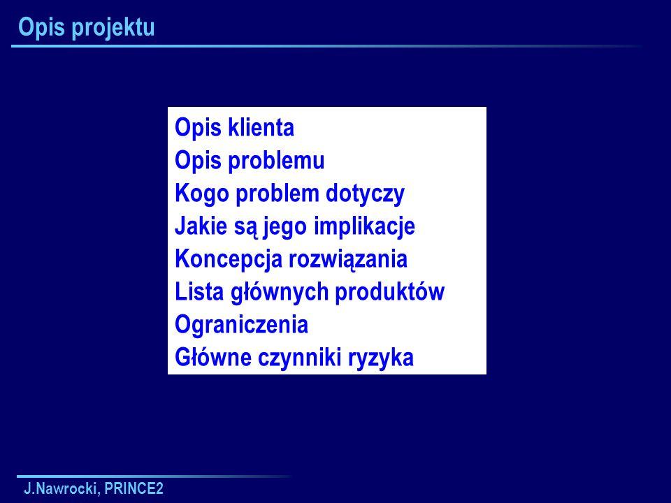 J.Nawrocki, PRINCE2 Opis projektu Opis klienta Opis problemu Kogo problem dotyczy Jakie są jego implikacje Koncepcja rozwiązania Lista głównych produk