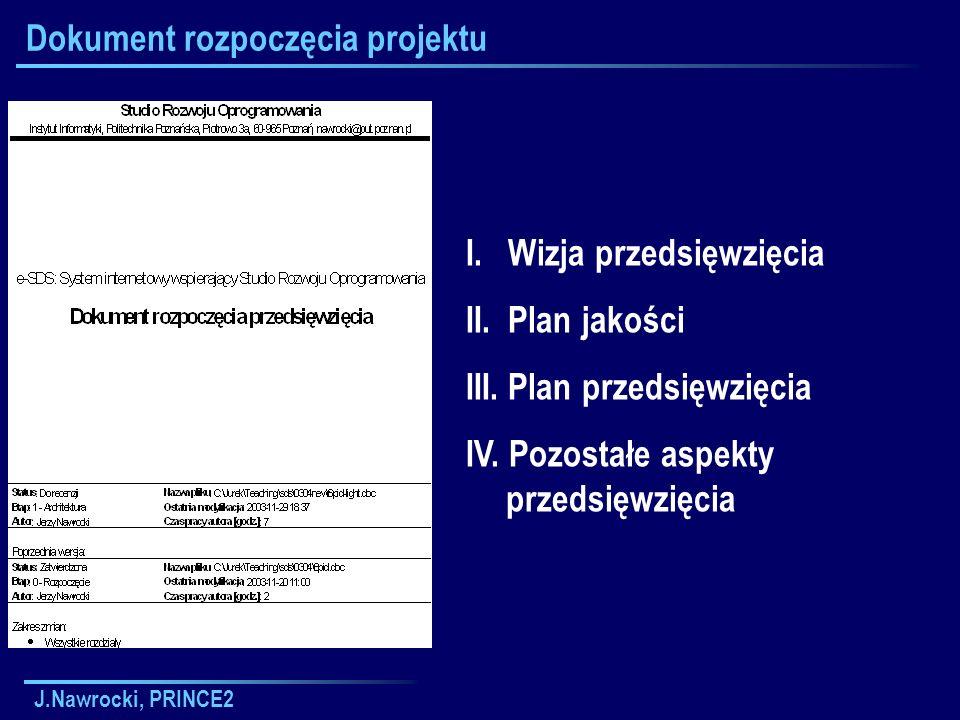 J.Nawrocki, PRINCE2 Dokument rozpoczęcia projektu I. Wizja przedsięwzięcia II. Plan jakości III. Plan przedsięwzięcia IV. Pozostałe aspekty przedsięwz