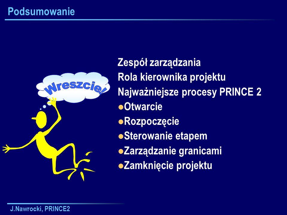 J.Nawrocki, PRINCE2 Podsumowanie Zespół zarządzania Rola kierownika projektu Najważniejsze procesy PRINCE 2 Otwarcie Rozpoczęcie Sterowanie etapem Zar