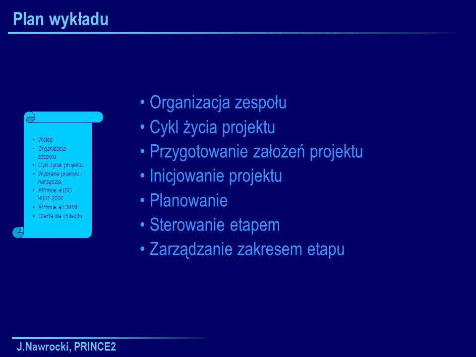J.Nawrocki, PRINCE2 Plan wykładu Organizacja zespołu Cykl życia projektu Przygotowanie założeń projektu Inicjowanie projektu Planowanie Sterowanie eta