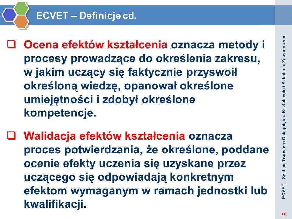ECVET – Definicje cd. Ocena efektów kształcenia oznacza metody i procesy prowadzące do określenia zakresu, w jakim uczący się faktycznie przyswoił okr