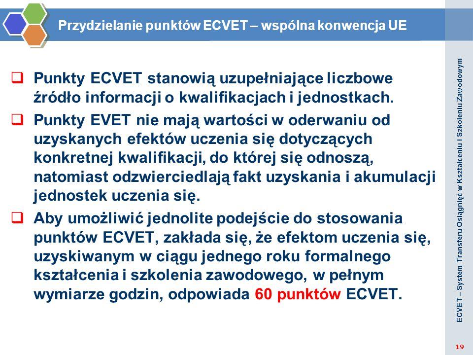 Punkty ECVET stanowią uzupełniające liczbowe źródło informacji o kwalifikacjach i jednostkach. Punkty EVET nie mają wartości w oderwaniu od uzyskanych