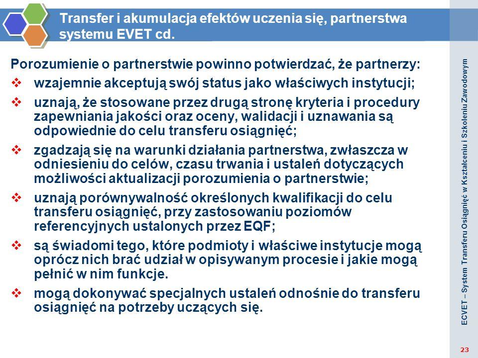 Transfer i akumulacja efektów uczenia się, partnerstwa systemu EVET cd. Porozumienie o partnerstwie powinno potwierdzać, że partnerzy: wzajemnie akcep