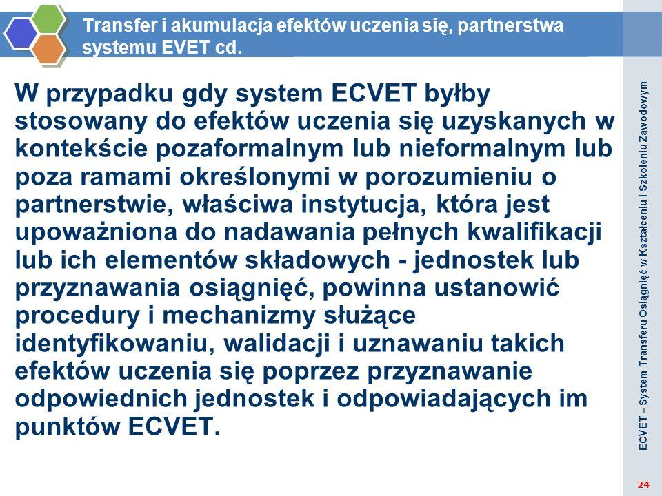 Transfer i akumulacja efektów uczenia się, partnerstwa systemu EVET cd. W przypadku gdy system ECVET byłby stosowany do efektów uczenia się uzyskanych