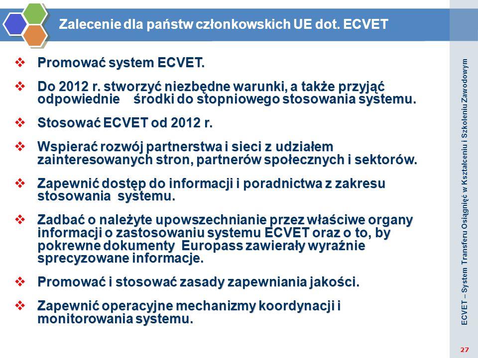 Zalecenie dla państw członkowskich UE dot. ECVET Promować system ECVET. Do 2012 r. stworzyć niezbędne warunki, a także przyjąć odpowiednie środki do s