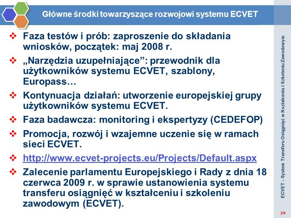 Główne środki towarzyszące rozwojowi systemu ECVET Faza testów i prób: zaproszenie do składania wniosków, początek: maj 2008 r. Narzędzia uzupełniając