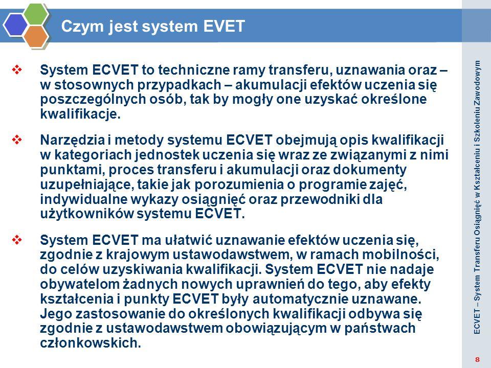 ECVET - Definicje Kwalifikacja oznacza formalny wynik procesu oceny i walidacji uzyskany w efekcie stwierdzenia przez właściwą instytucję, że osiągnięte przez daną osobę efekty uczenia się są zgodne z określonymi standardami.