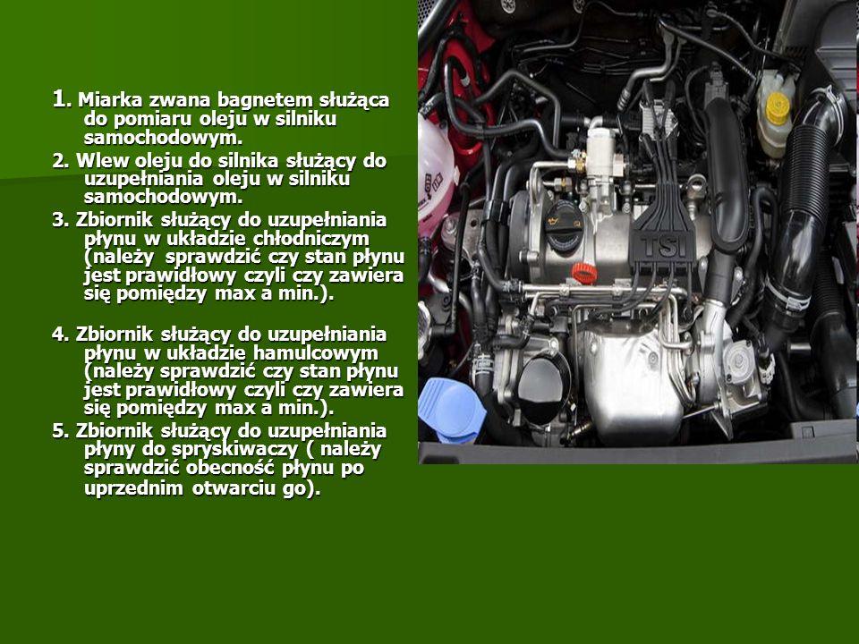 1. Miarka zwana bagnetem służąca do pomiaru oleju w silniku samochodowym. 2. Wlew oleju do silnika służący do uzupełniania oleju w silniku samochodowy