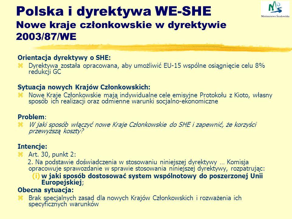 Polska i dyrektywa WE-SHE Nowe kraje członkowskie w dyrektywie 2003/87/WE Orientacja dyrektywy o SHE: zDyrektywa została opracowana, aby umożliwić EU-