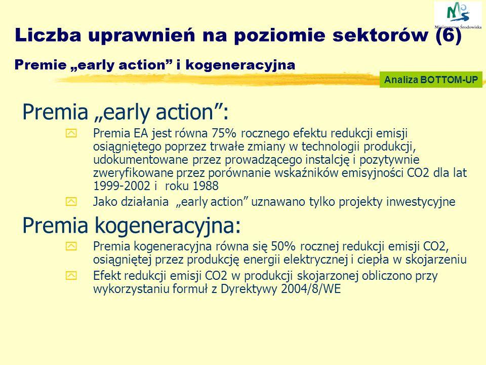 Liczba uprawnień na poziomie sektorów (6) Premie early action i kogeneracyjna Premia early action: yPremia EA jest równa 75% rocznego efektu redukcji