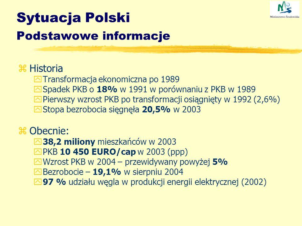 Sytuacja Polski Podstawowe informacje zHistoria yTransformacja ekonomiczna po 1989 ySpadek PKB o 18% w 1991 w porównaniu z PKB w 1989 yPierwszy wzrost