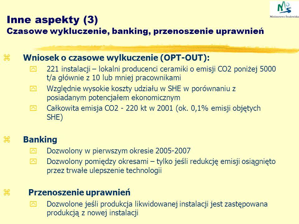 Inne aspekty (3) Czasowe wykluczenie, banking, przenoszenie uprawnień zWniosek o czasowe wylkuczenie (OPT-OUT): y221 instalacji – lokalni producenci c