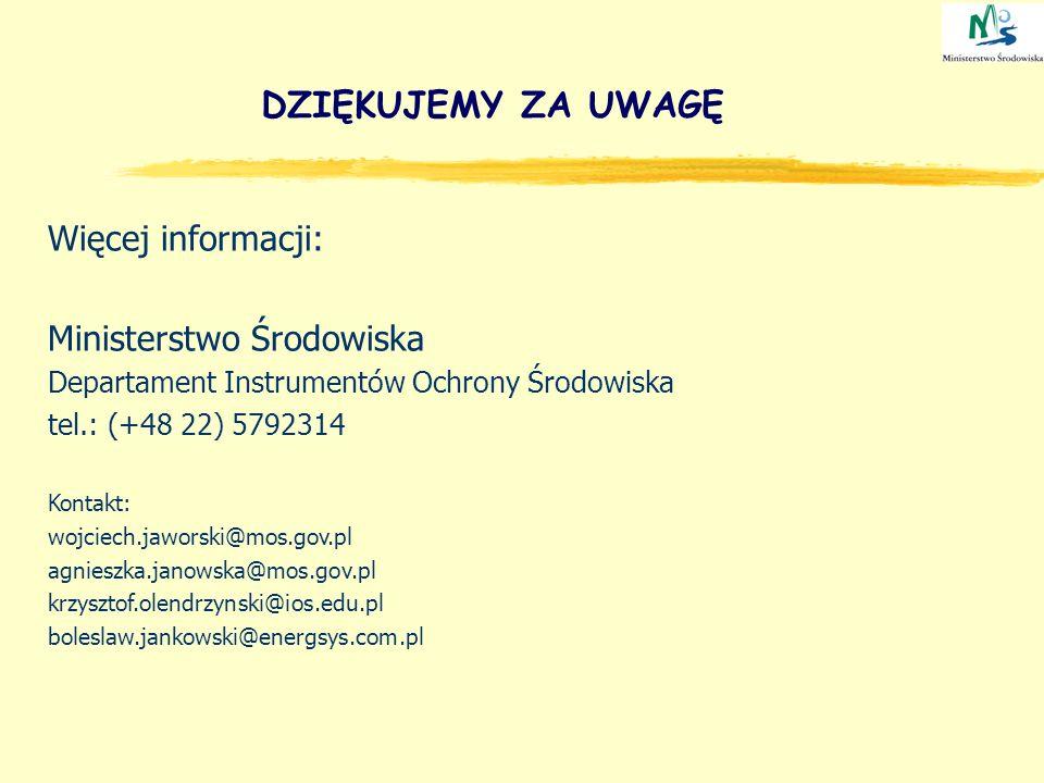 DZIĘKUJEMY ZA UWAGĘ Więcej informacji: Ministerstwo Środowiska Departament Instrumentów Ochrony Środowiska tel.: (+48 22) 5792314 Kontakt: wojciech.ja