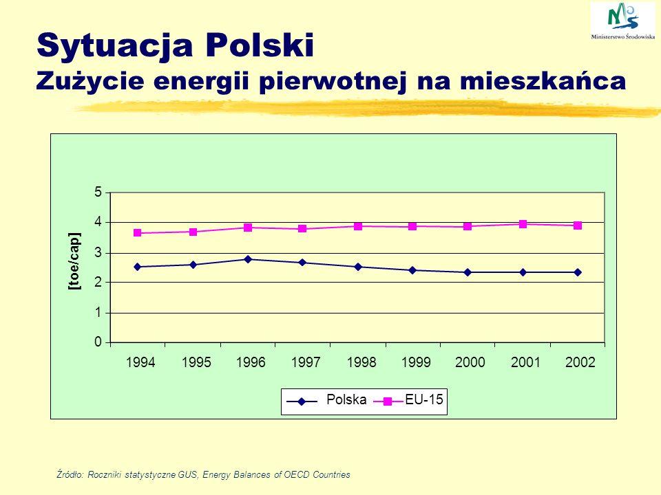 Sytuacja Polski Zużycie energii pierwotnej na mieszkańca 0 1 2 3 4 5 199419951996199719981999200020012002 [toe/cap] Polska EU-15 Źródło: Roczniki stat