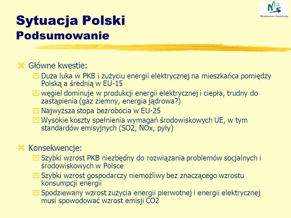 Sytuacja Polski Podsumowanie zGłówne kwestie: yDuża luka w PKB i zużyciu energii elektrycznej na mieszkańca pomiędzy Polską a średnią w EU-15 ywęgiel