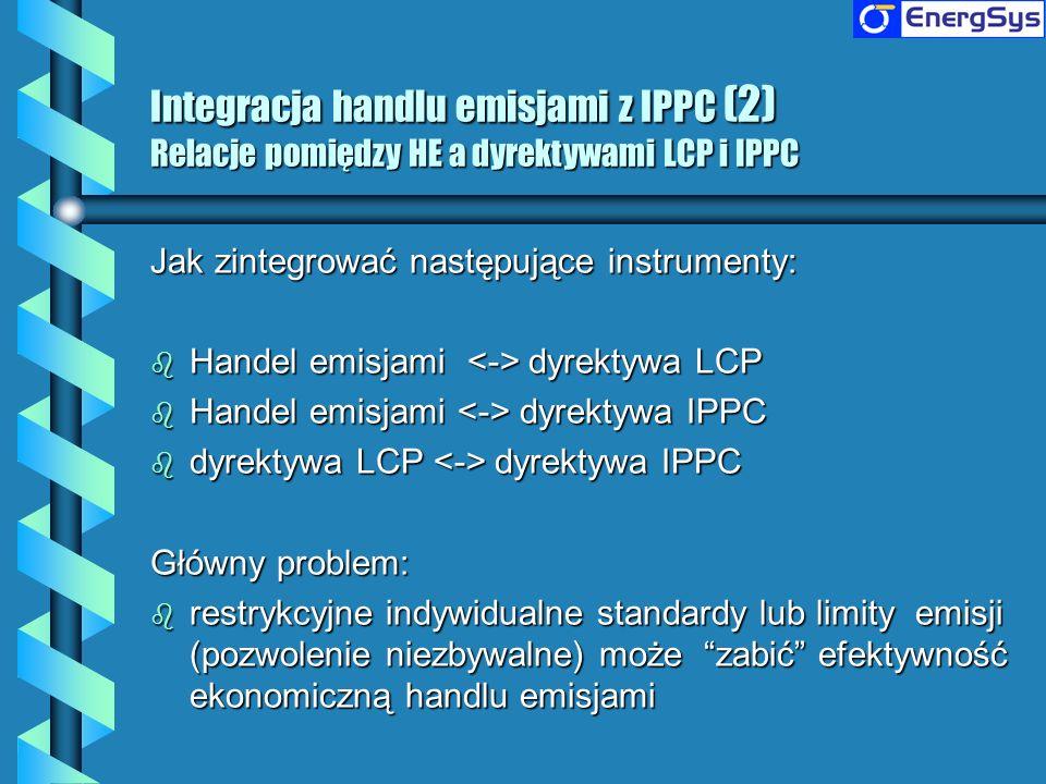 Jak zintegrować następujące instrumenty: b Handel emisjami dyrektywa LCP b Handel emisjami dyrektywa IPPC b dyrektywa LCP dyrektywa IPPC Główny proble