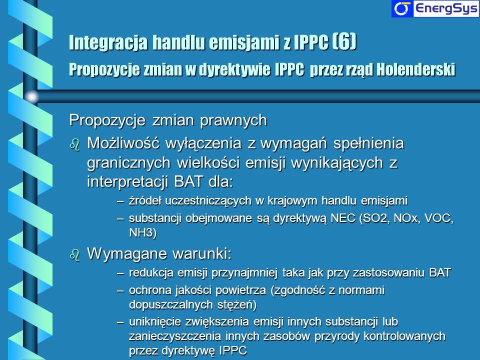 Integracja handlu emisjami z IPPC (6) Propozycje zmian w dyrektywie IPPC przez rząd Holenderski Propozycje zmian prawnych b Możliwość wyłączenia z wym