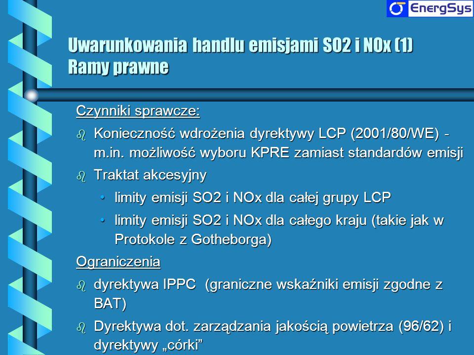 Uwarunkowania handlu emisjami SO2 i NOx (2) Problemy związane z redukcją emisji SO2 b 5,9 mld Euro inwestycji w Polsce w redukcję emisji SO2 w latach 1990 - 2005 b Bardzo wysokie szacowane koszty implementacji dyrektywy LCP (nakłady inwestycyjne 11,8 - 12,6 mld Euro i wzrost kosztów produkcji energii elektrycznej o 33% w 2016) b Okresy przejściowe mogłyby zmniejszyć koszty dostosowania (nakłady inwestycyjne 6,3 mld Euro i wzrost kosztów produkcji energii elektrycznej o 25% w 2016) b Jednakże limity emisji z Traktatu Akcesyjnego dla całej grupy LCP są bardziej wymagające niż dyrektywa LCP z okresami przejściowymi b Wysoki wzrost kosztów produkcji energii elektrycznej będzie powodował problemy społeczne i gospodarcze