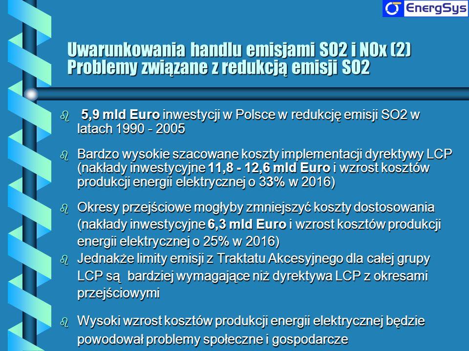 Uwarunkowania handlu emisjami SO2 i NOx (2) Problemy związane z redukcją emisji SO2 b 5,9 mld Euro inwestycji w Polsce w redukcję emisji SO2 w latach
