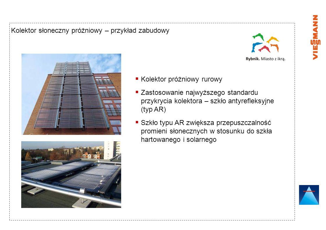 Kolektor słoneczny próżniowy – przykład zabudowy Kolektor próżniowy rurowy Zastosowanie najwyższego standardu przykrycia kolektora – szkło antyrefleks