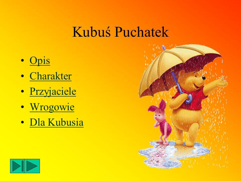Opis Kubuś Puchatek jest małym, wesołym misiem, który uwielbia jeść miód i bawić się ze swoimi przyjaciółmi.
