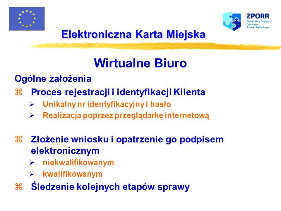 Elektroniczna Karta Miejska Wirtualne Biuro Pilotażowe wdrożenie : zWydział Podatków - 10 formularzy m.in.: Zaświadczenie o stanie majątkowym Zmiana w