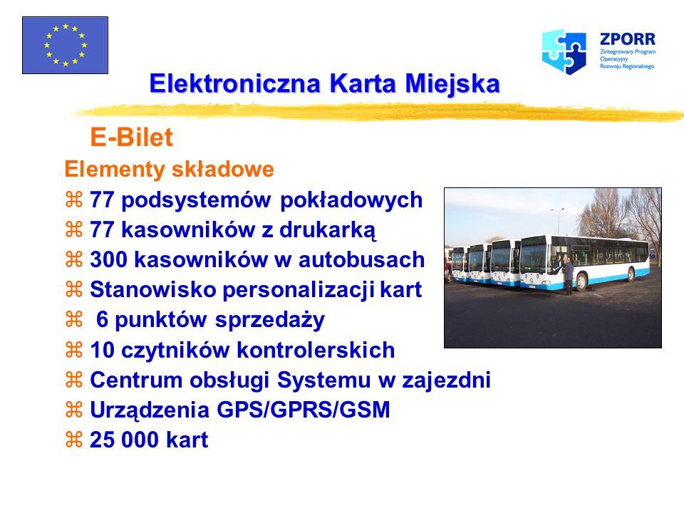 Elektroniczna Karta Miejska Usługi realizowane przy użyciu karty: zE-bilet: opłaty za przejazd miejskimi środkami transportu zOpłaty za parkingi zOpła
