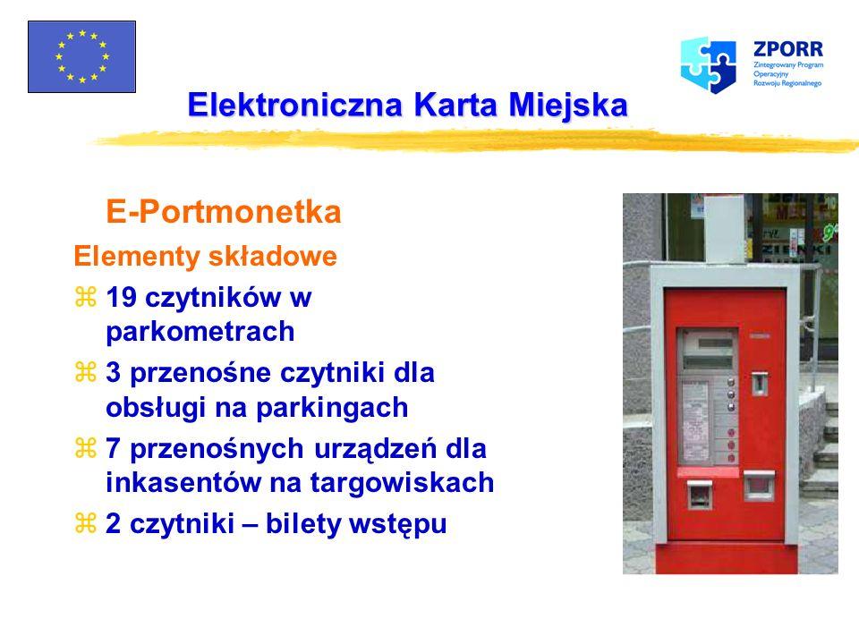 Elektroniczna Karta Miejska E-Bilet Elementy składowe z77 podsystemów pokładowych z77 kasowników z drukarką z300 kasowników w autobusach zStanowisko p