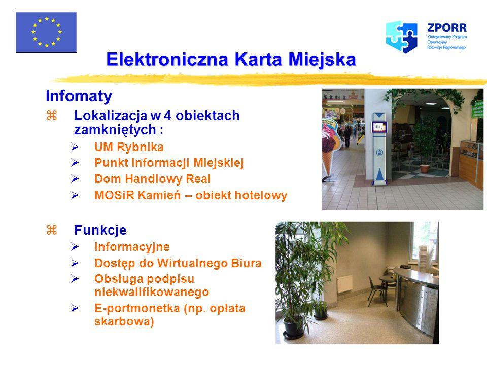 Elektroniczna Karta Miejska E-Portmonetka Elementy składowe z19 czytników w parkometrach z3 przenośne czytniki dla obsługi na parkingach z7 przenośnyc
