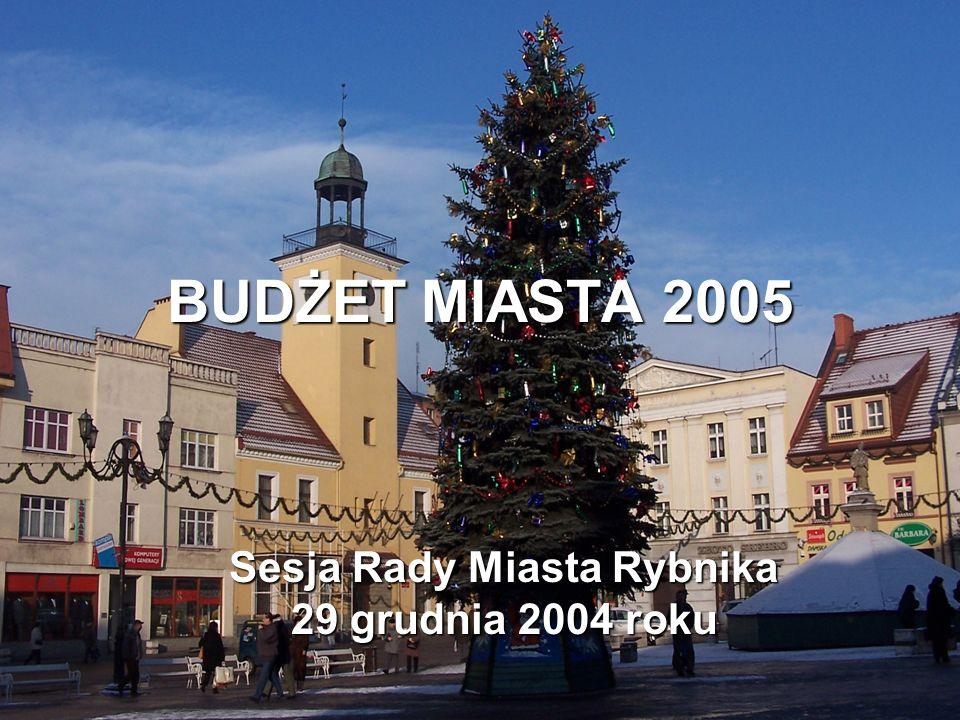 BUDŻET MIASTA 2005 Sesja Rady Miasta Rybnika 29 grudnia 2004 roku