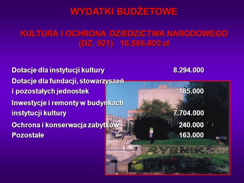 WYDATKI BUDŻETOWE KULTURA I OCHRONA DZIEDZICTWA NARODOWEGO (DZ. 921) 16.586.000 zł Dotacje dla instytucji kultury8.294.000 Dotacje dla fundacji, stowa