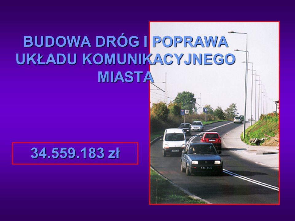 BUDOWA DRÓG I POPRAWA UKŁADU KOMUNIKACYJNEGO MIASTA 34.559.183 zł