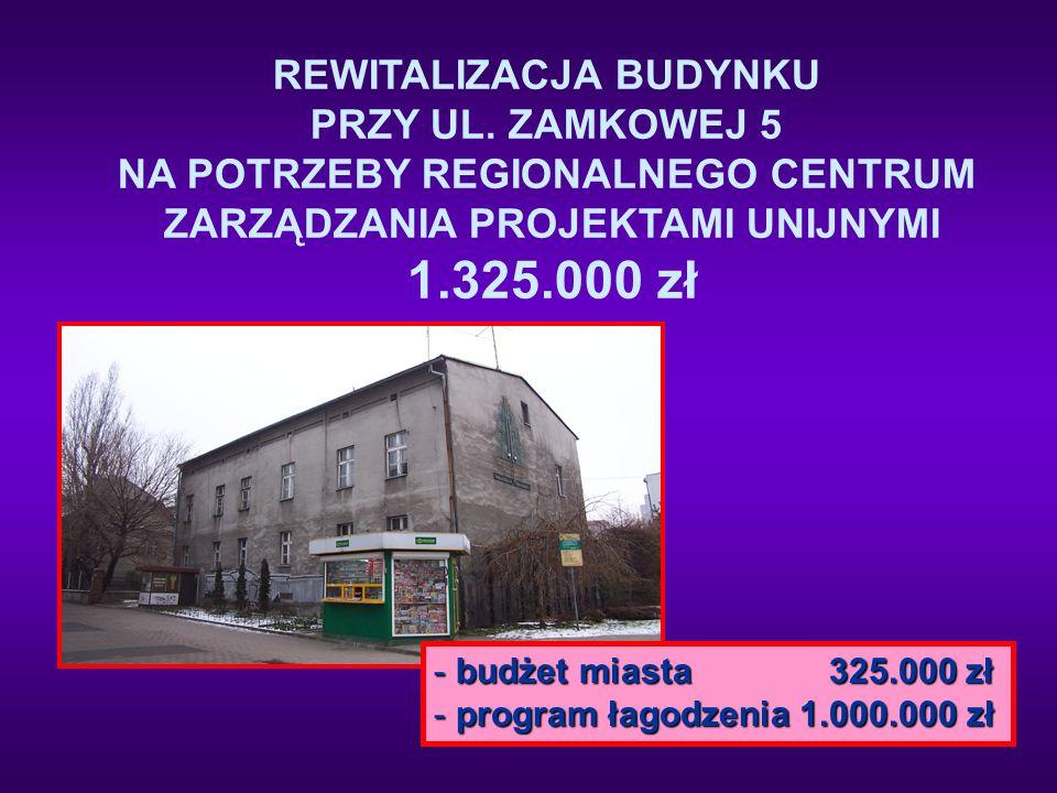 REWITALIZACJA BUDYNKU PRZY UL. ZAMKOWEJ 5 NA POTRZEBY REGIONALNEGO CENTRUM ZARZĄDZANIA PROJEKTAMI UNIJNYMI 1.325.000 zł - budżet miasta 325.000 zł - p