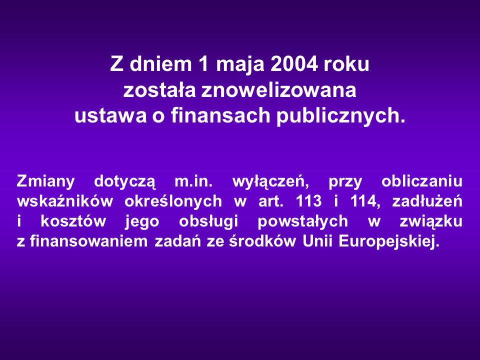 Z dniem 1 maja 2004 roku została znowelizowana ustawa o finansach publicznych. Zmiany dotyczą m.in. wyłączeń, przy obliczaniu wskaźników określonych w