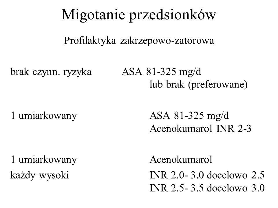 Migotanie przedsionków Profilaktyka zakrzepowo-zatorowa brak czynn. ryzykaASA 81-325 mg/d lub brak (preferowane) 1 umiarkowany ASA 81-325 mg/d Acenoku
