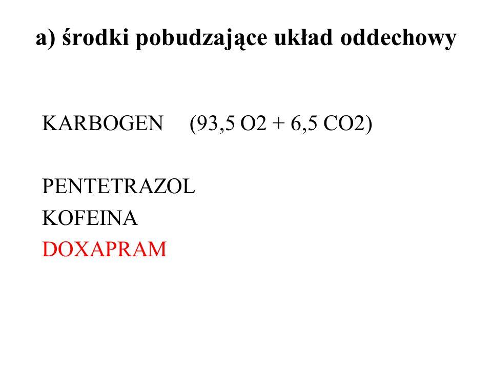 a) środki pobudzające układ oddechowy KARBOGEN(93,5 O2 + 6,5 CO2) PENTETRAZOL KOFEINA DOXAPRAM