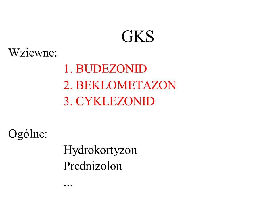 GKS Wziewne: 1. BUDEZONID 2. BEKLOMETAZON 3. CYKLEZONID Ogólne: Hydrokortyzon Prednizolon...