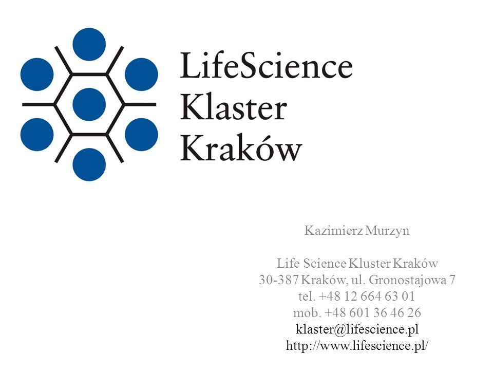 www.lifescience.pl Kazimierz Murzyn Life Science Kluster Kraków 30-387 Kraków, ul. Gronostajowa 7 tel. +48 12 664 63 01 mob. +48 601 36 46 26 klaster@