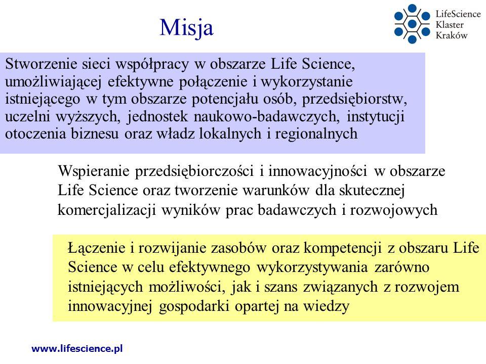 www.lifescience.pl Założenia Klaster funkcjonuje jako Projekt - wspólne przedsięwzięcie wielu podmiotów, które łączy dążenie do zrealizowania wspólnej misji i osiągnięcia wspólnych celów.