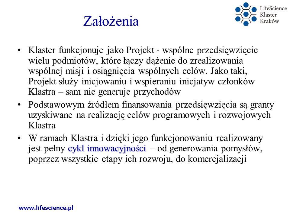 www.lifescience.pl Założenia Klaster funkcjonuje jako Projekt - wspólne przedsięwzięcie wielu podmiotów, które łączy dążenie do zrealizowania wspólnej