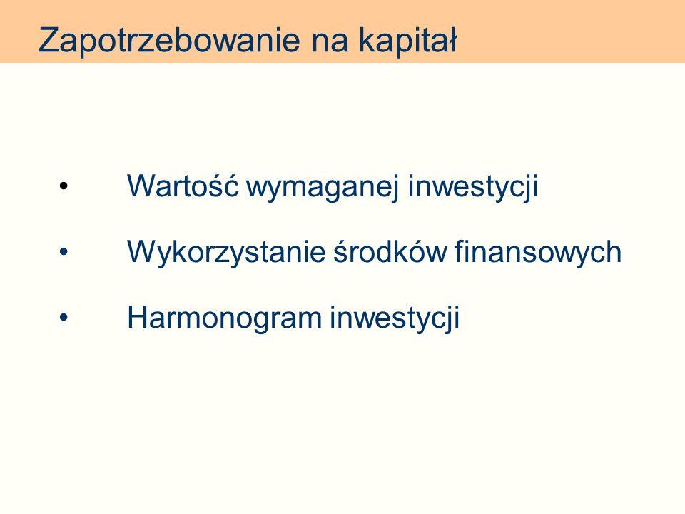 Zapotrzebowanie na kapitał Wartość wymaganej inwestycji Wykorzystanie środków finansowych Harmonogram inwestycji