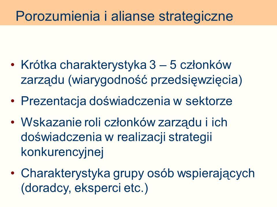 Porozumienia i alianse strategiczne Krótka charakterystyka 3 – 5 członków zarządu (wiarygodność przedsięwzięcia) Prezentacja doświadczenia w sektorze