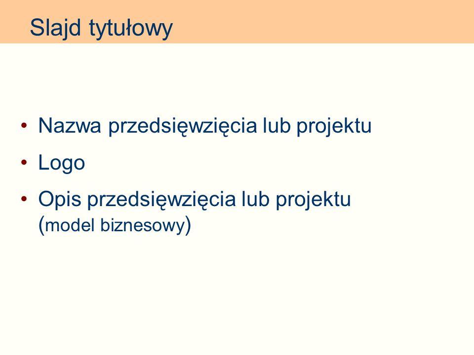 Nazwa przedsięwzięcia lub projektu Logo Opis przedsięwzięcia lub projektu ( model biznesowy ) Slajd tytułowy