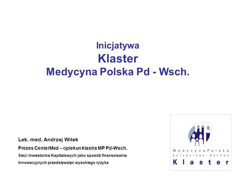 Inicjatywa Klaster Medycyna Polska Pd - Wsch. Lek. med. Andrzej Witek Prezes CenterMed – opiekun klastra MP Pd-Wsch. Sieci Inwestorów Kapitałowych jak