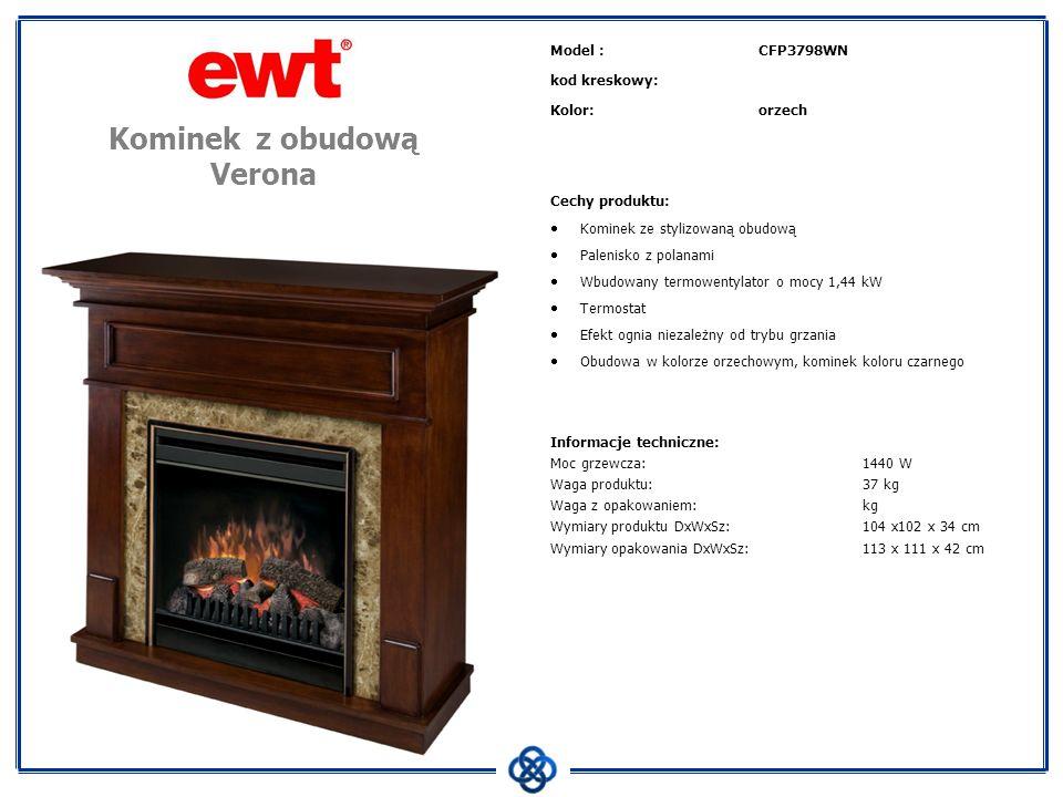 Model :CFP3798WN kod kreskowy: Kolor:orzech Cechy produktu: Kominek ze stylizowaną obudową Palenisko z polanami Wbudowany termowentylator o mocy 1,44