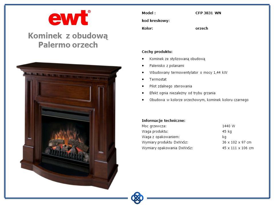 Model :CFP 3831 WN kod kreskowy: Kolor:orzech Cechy produktu: Kominek ze stylizowaną obudową Palenisko z polanami Wbudowany termowentylator o mocy 1,4