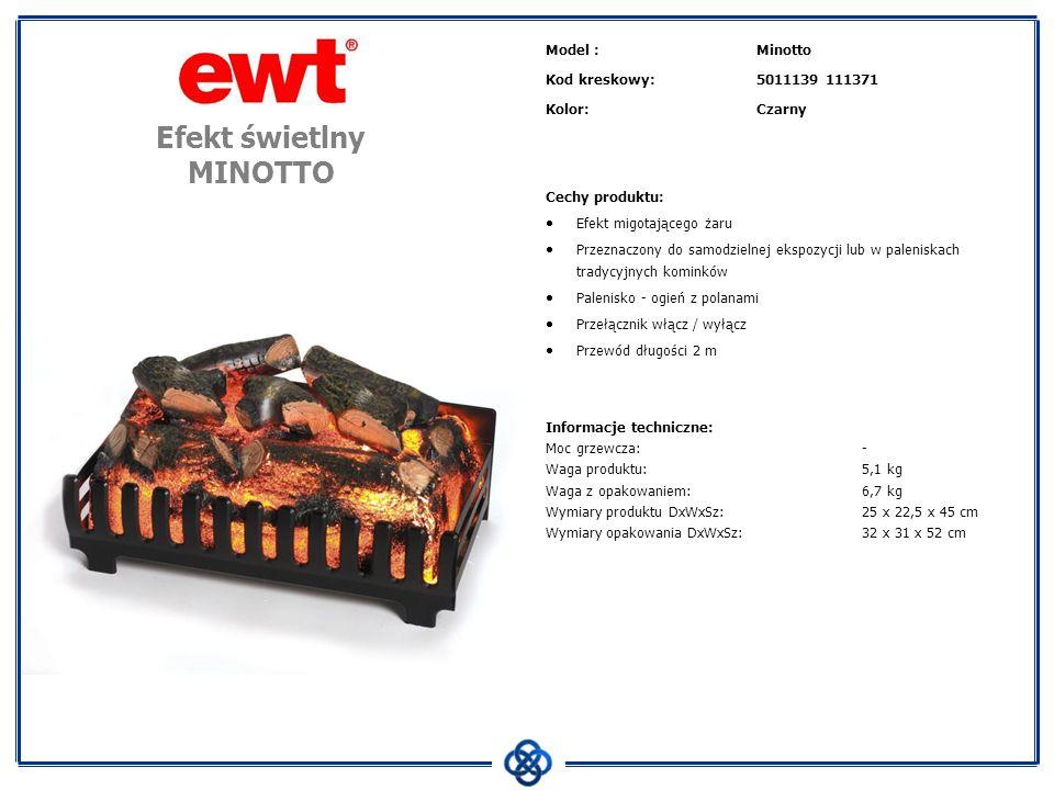 Model :Mini Cube Kod kreskowy:5011139 Kolor:czarny Cechy produktu: Efekt ognia Optiflame Wbudowany termowentylator o mocy 2000 W Efekt ognia niezależny od trybu grzania Przełącznik mocy 2-pozycyjny Elementy sterowania ukryte za ruchomą osłoną Palenisko - ogień z polanami Kabel z wtyczką Przeznaczony do samodzielnej ekspozycji Informacje techniczne: Moc grzewcza:1500 W Waga produktu: kg Waga z opakowaniem: kg Wymiary produktu DxWxSz: cm Wymiary opakowania DxWxSz: cm Kominek wolnostojący MINI CUBE