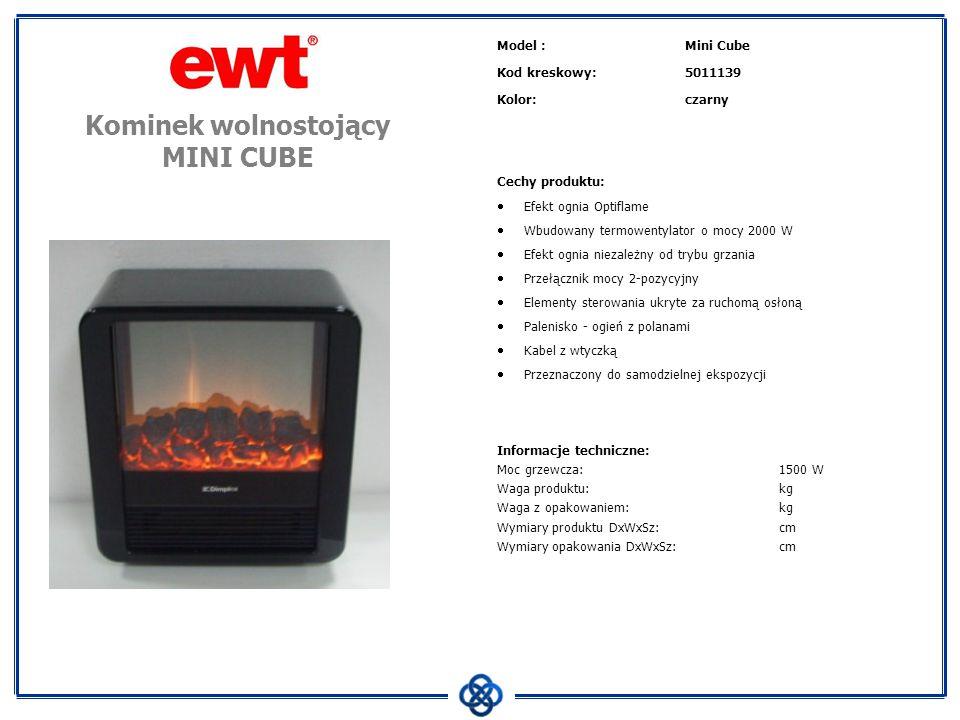 Model :Mini Cube Kod kreskowy:5011139 Kolor:czarny Cechy produktu: Efekt ognia Optiflame Wbudowany termowentylator o mocy 2000 W Efekt ognia niezależn