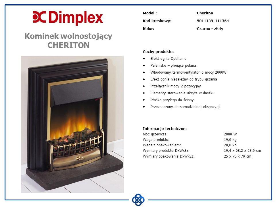 Model :Cheriton Kod kreskowy:5011139 111364 Kolor:Czarno - złoty Cechy produktu: Efekt ognia Optiflame Palenisko – płonące polana Wbudowany termowenty